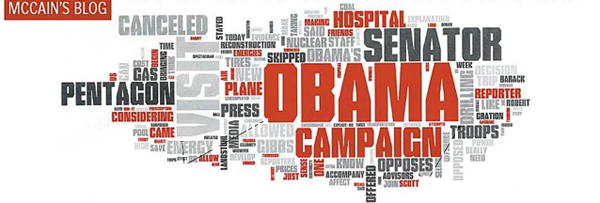 A tag cloud of Obama's blog in the lead up to the 2008 US General Election