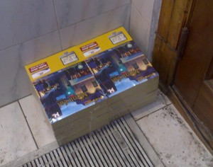 A stack of Yellow Pages, unopened because nobody needs them