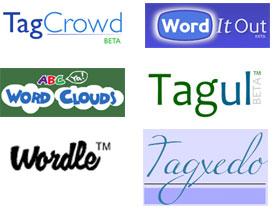 Wordle, TagCrowd, Word It Out, ABCYa Word Clouds, Tagul, and Tagxedo