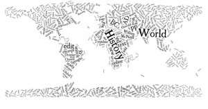 A tag cloud of world history, by tagxedo