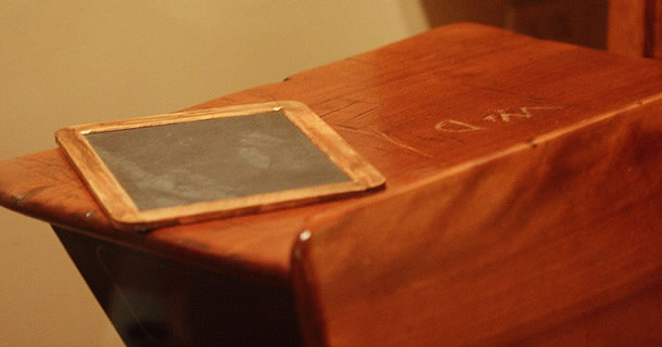Photo of Walt Disney's schooldesk from Caniswolfe on Flickr. http://www.flickr.com/photos/caniswolfie/2572030464